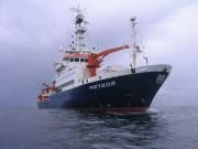 """Das Forschungsschiff """"Meteor"""" auf See, Foto: Peter Linke, IFM-GEOMAR"""