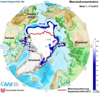 Arktische Meereiskonzentration September 2013