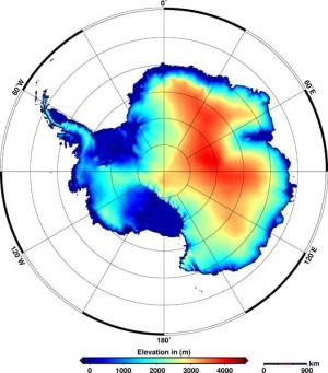 Die Topografie der antarktischen Eisschilde