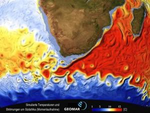 Simulierte Temperaturen und Strömungen (Momentaufnahme) um Afrika