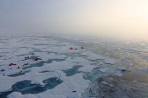 AWI-Forscher untersuchen Schmelztümpel auf arktischem Meereis