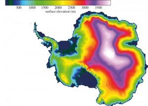 Heutige Topographie der Antarktis