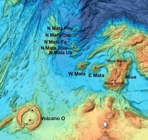 Das Lau-Becken mit dem Niua South-Vulkan