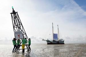 Greenpeace-Protest gegen Ölbohrungen im Wattenmeer