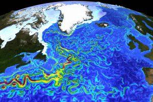 Strömungsgeschwindigkeiten und Meereisverteilung