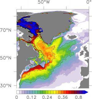 Ausbreitung des Grönland-Schmelzwassers.