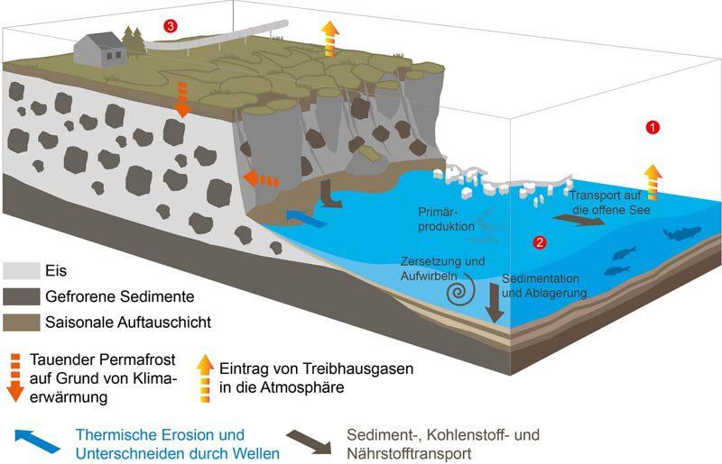 Grafische Darstellung der Küstenerosion